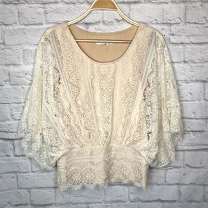 Solitaire lace cream butterfly blouse